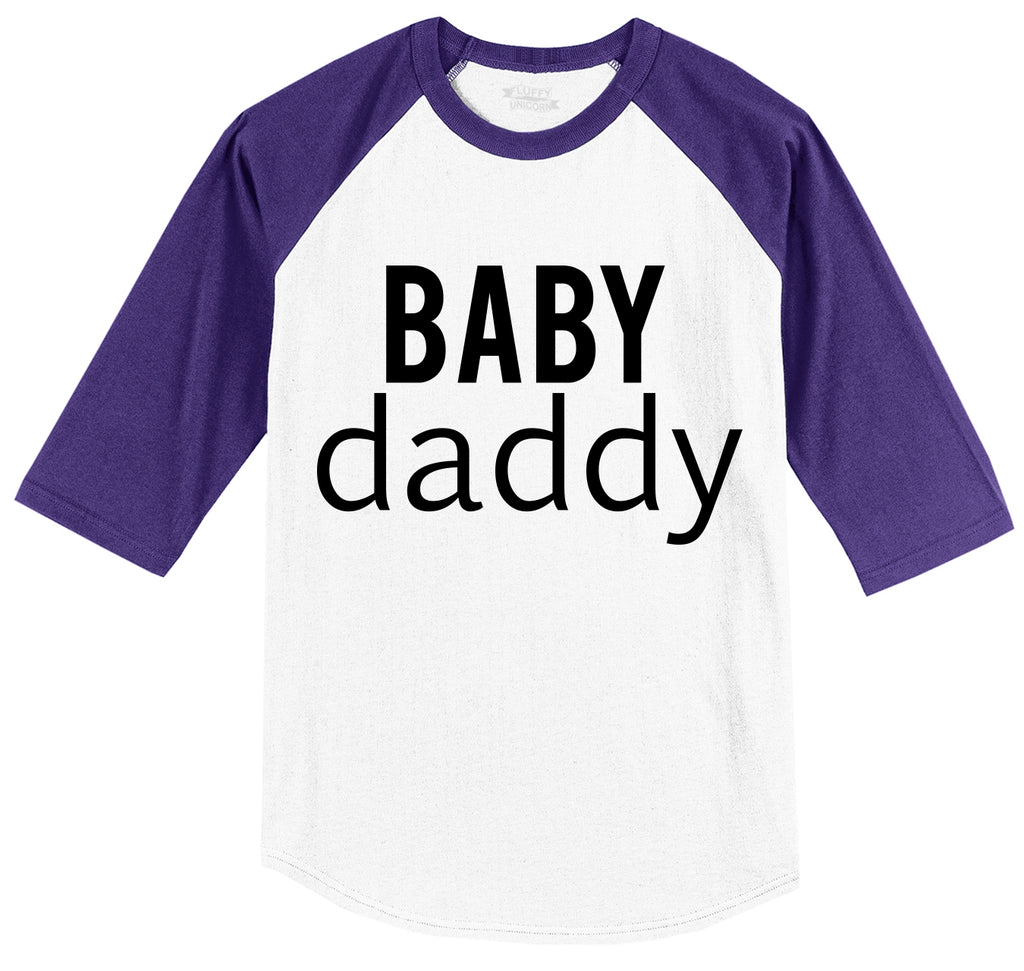 Baby Daddy New Baby Father Dad Tee Mens 3/4 Sleeve Raglan Jersey