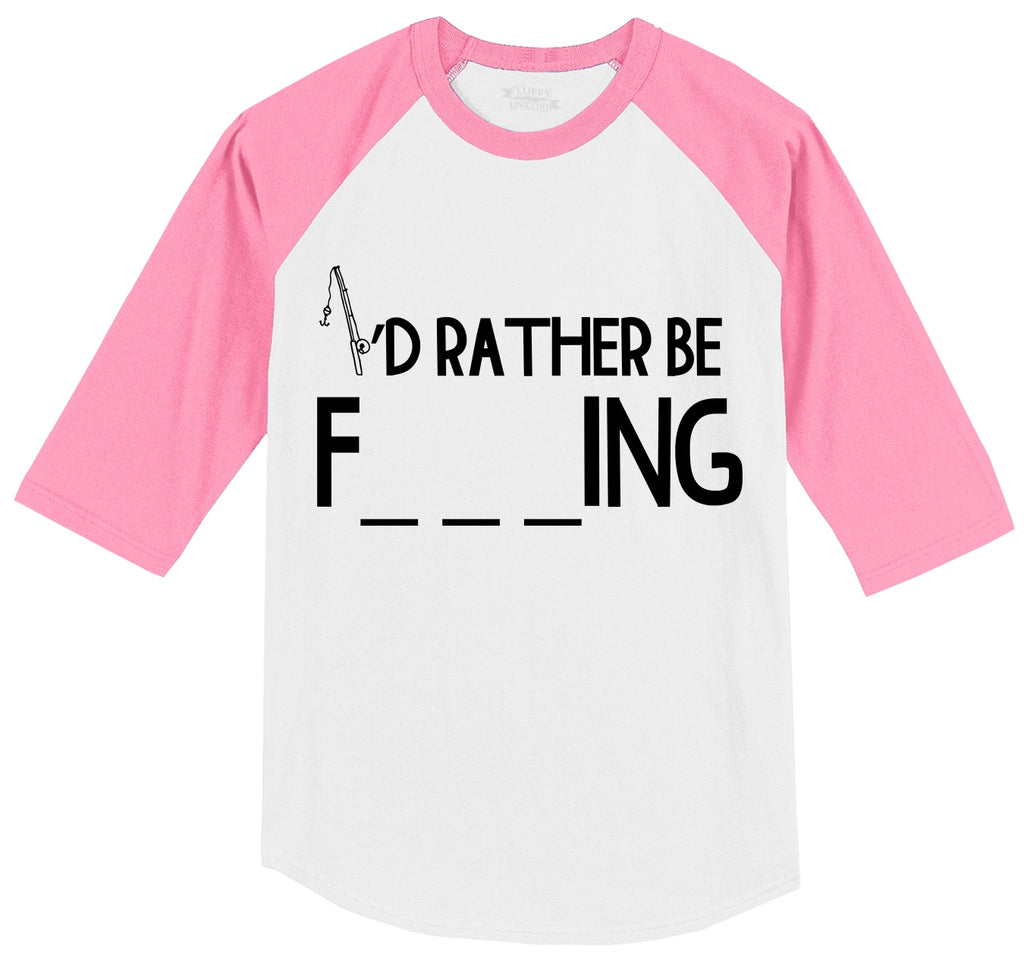 Id Rather Be Fishing Mens 3/4 Sleeve Raglan Jersey