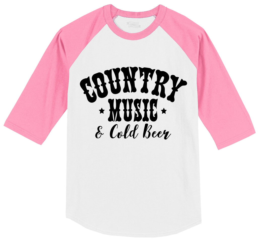 Country Music and Cold Beer Mens 3/4 Sleeve Raglan Jersey