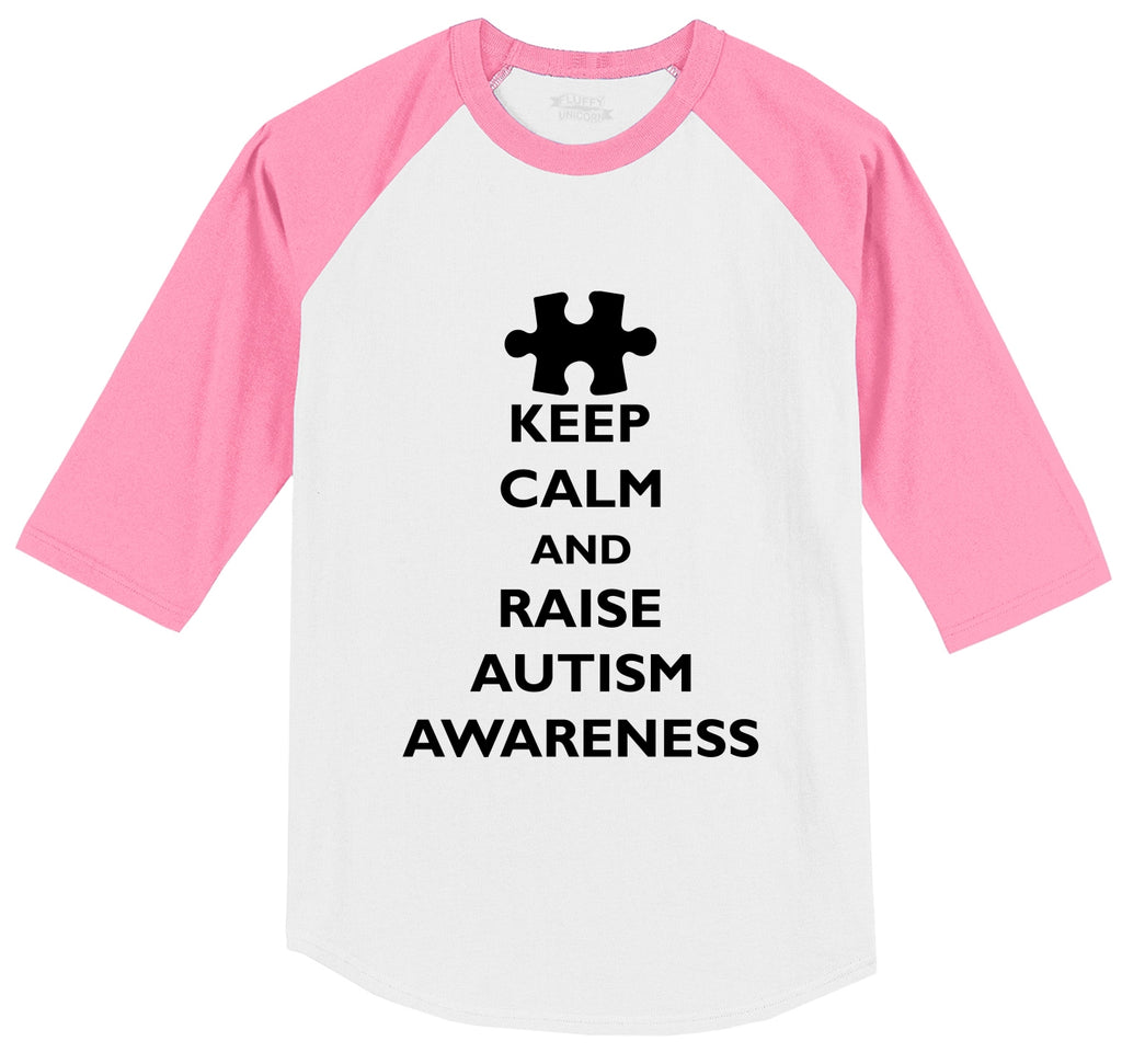 Keep Calm and Raise Autism Awareness Tee Mens 3/4 Sleeve Raglan Jersey