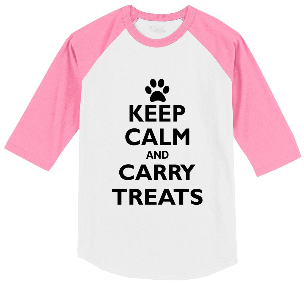 Keep Calm and Carry Treats Mens 3/4 Sleeve Raglan Jersey