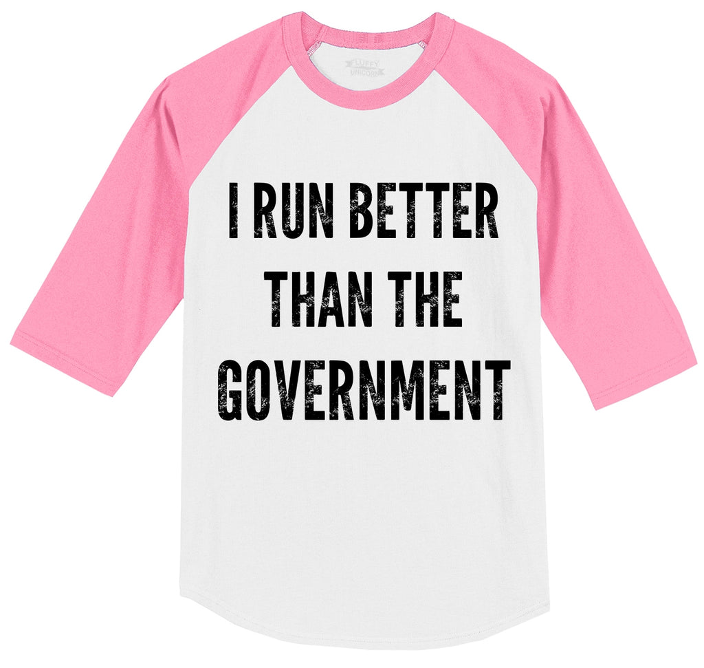 I Run Better Than The Government Mens 3/4 Sleeve Raglan Jersey