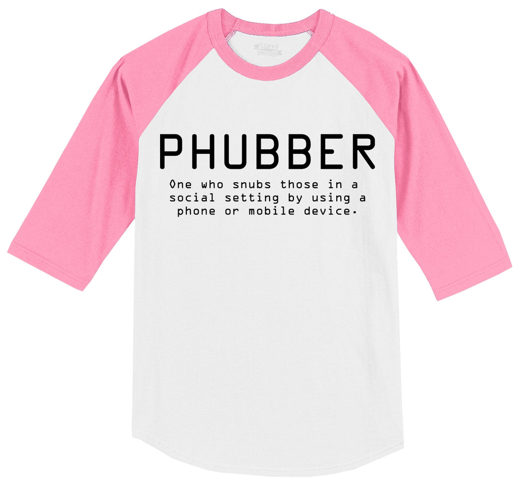 Phubber Snubs in Social Setting on Phone Funny Tee Technology Humor Shirt Mens 3/4 Sleeve Raglan Jersey