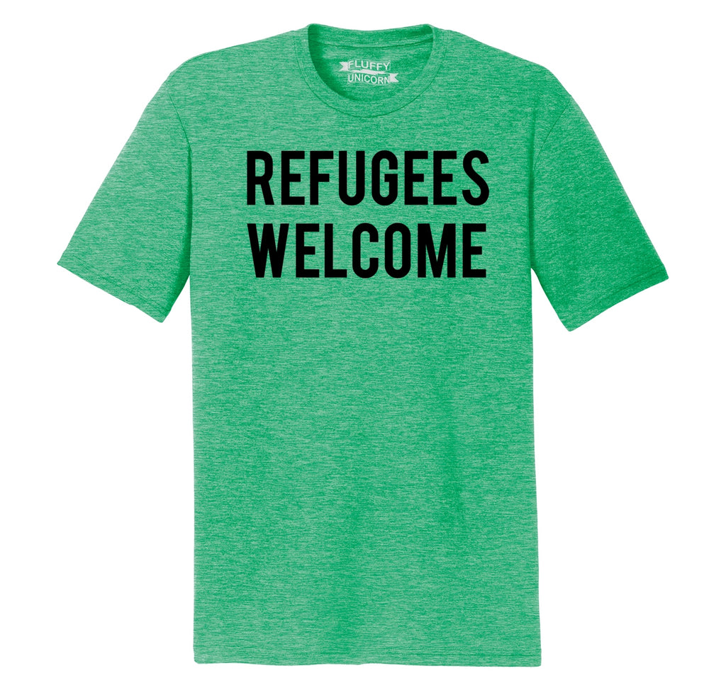 Refugees Welcome Tee Anti Trump Protest Muslim Peace USA Tee Mens Short Sleeve Tri-Blend Shirt