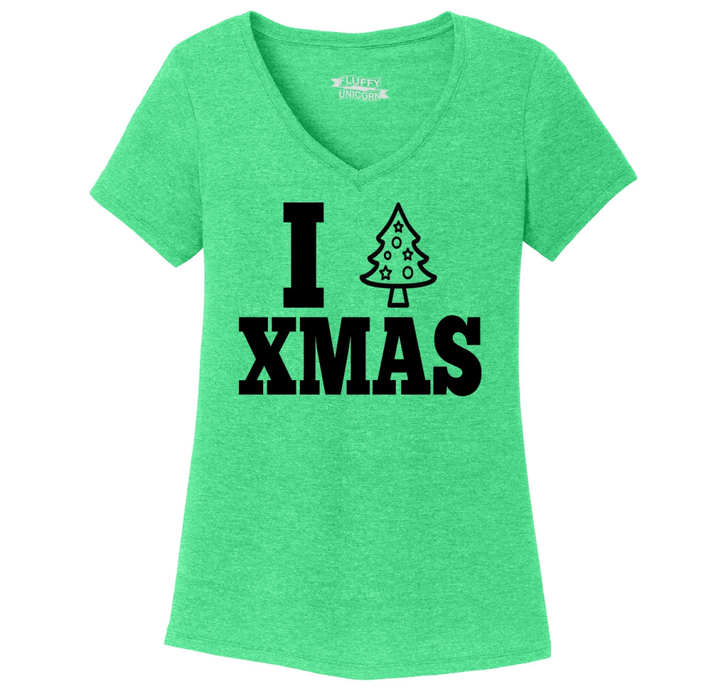 I Love Xmas Tee Christmas Party Tree Graphic Tee Ladies Tri-Blend V-Neck Tee Shirt