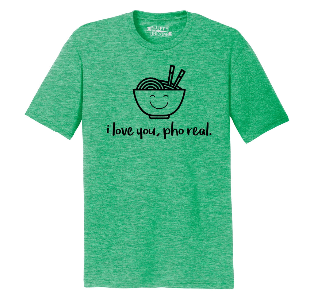 I Love You Pho Real Funny Asian Chinese Food Graphic Tee Mens Short Sleeve Tri-Blend Shirt