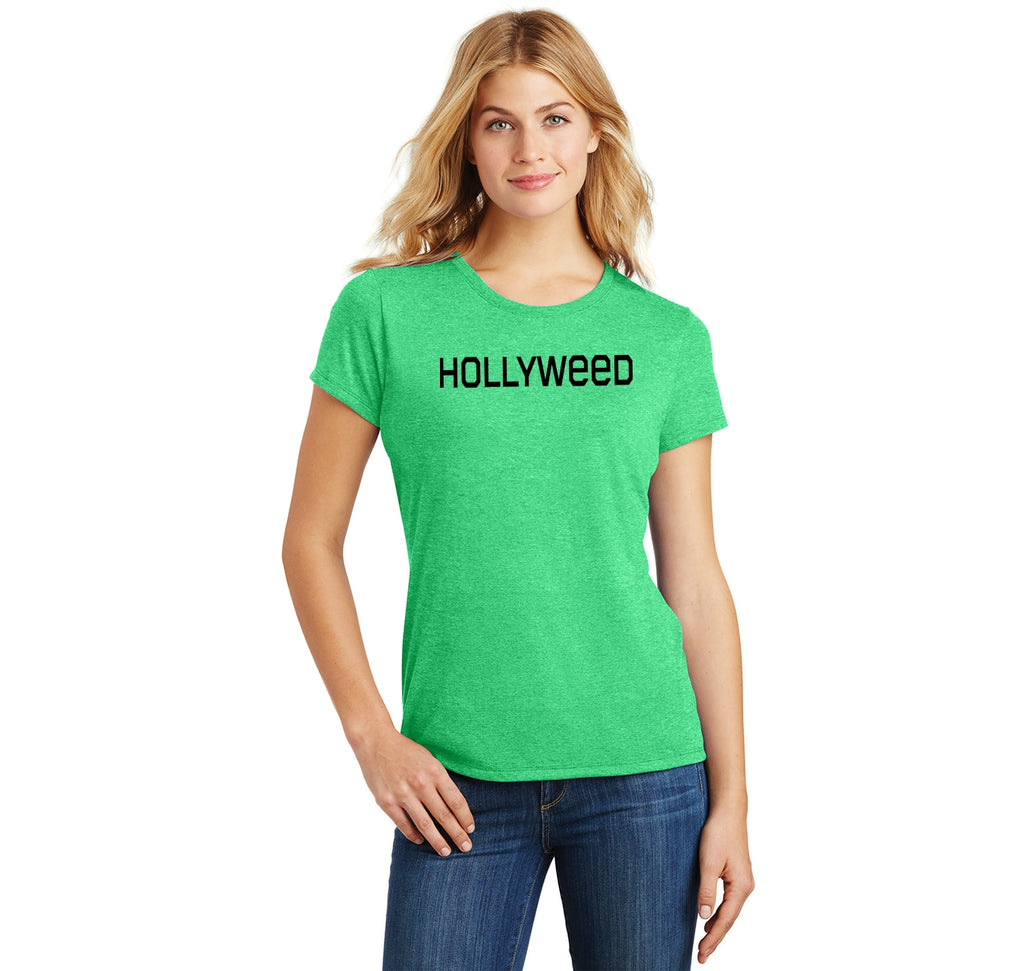 Hollyweed Funny Tee CA LA Hollywood Sign News Weed Stoner Cali Gift Tee Ladies Short Sleeve Tri-Blend Shirt