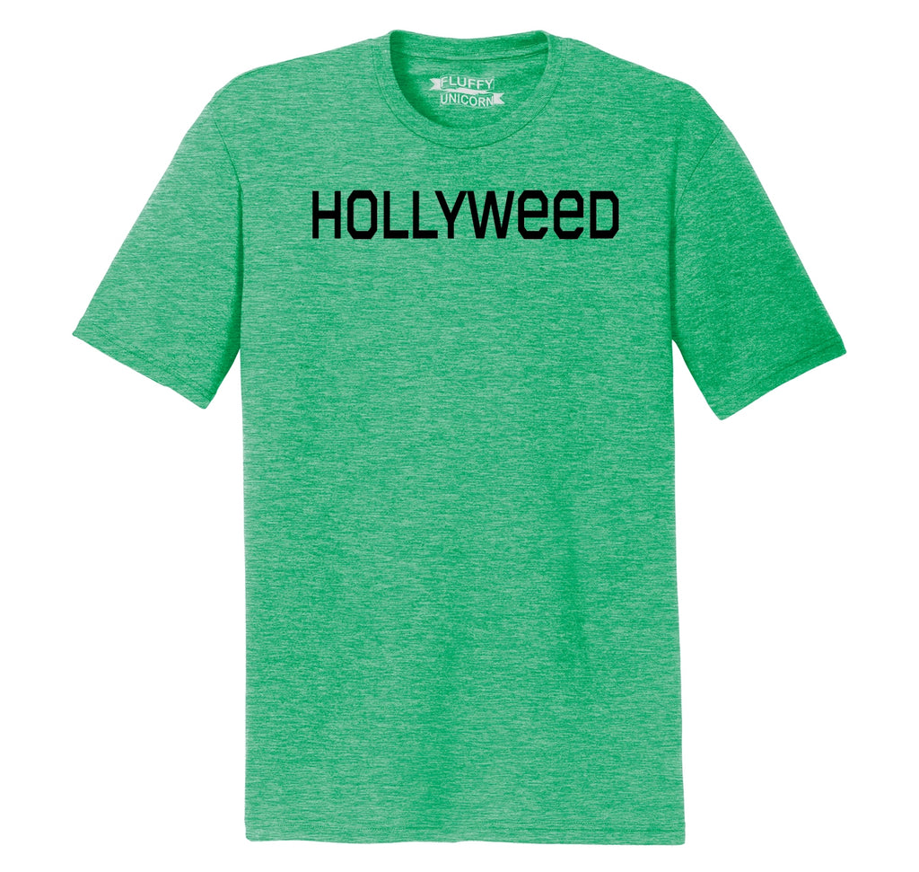 Hollyweed Funny Tee CA LA Hollywood Sign News Weed Stoner Cali Gift Tee Mens Short Sleeve Tri-Blend Shirt