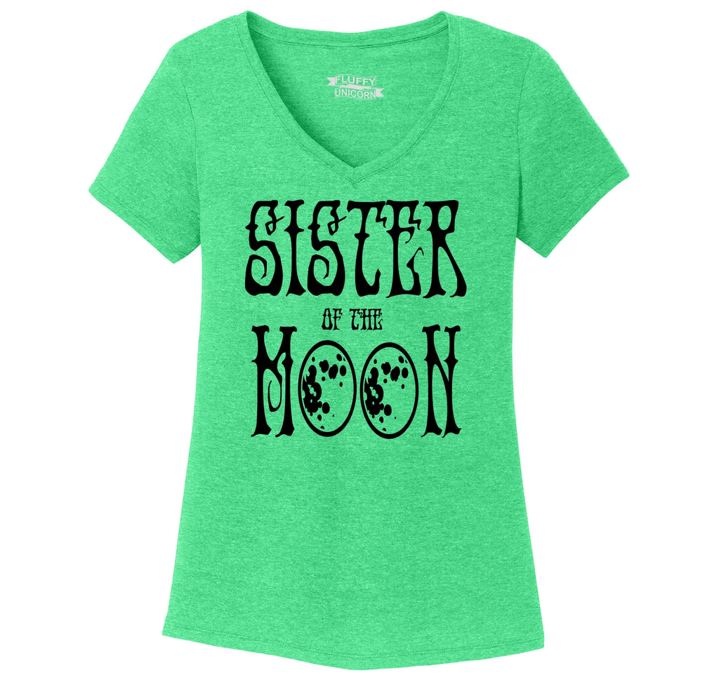 Sister Of The Moon Ladies Tri-Blend V-Neck Tee Shirt