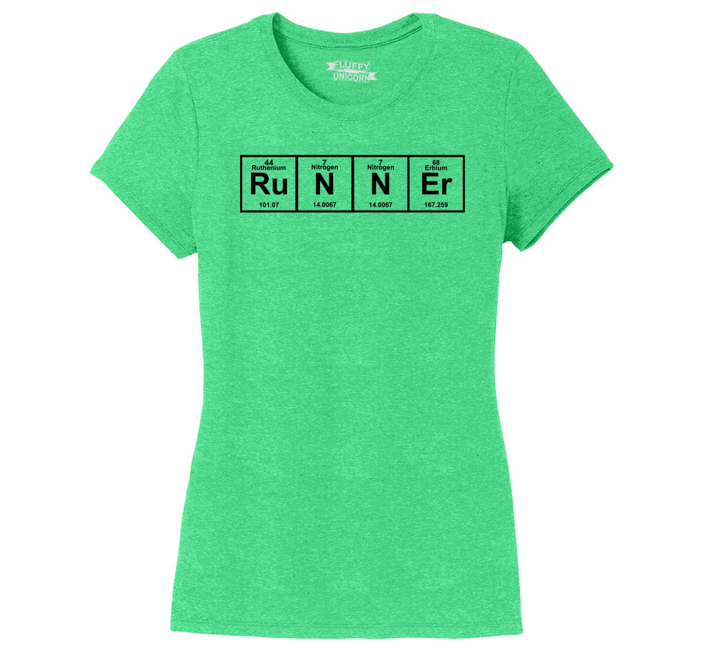 Runner - Periodic Table Of Elements Ladies Short Sleeve Tri-Blend Shirt