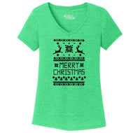 Merry Christmas Ugly Sweater Xmas Tee Ladies Tri-Blend V-Neck Tee Shirt