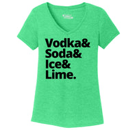 Vodka Soda Ice And Lime Ladies Tri-Blend V-Neck Tee Shirt