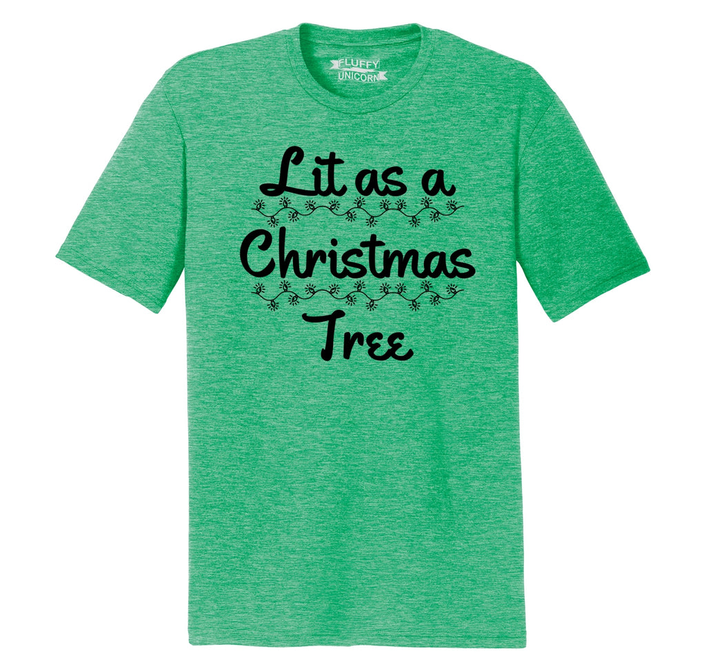 Lit As A Christmas Tree Mens Short Sleeve Tri-Blend Shirt