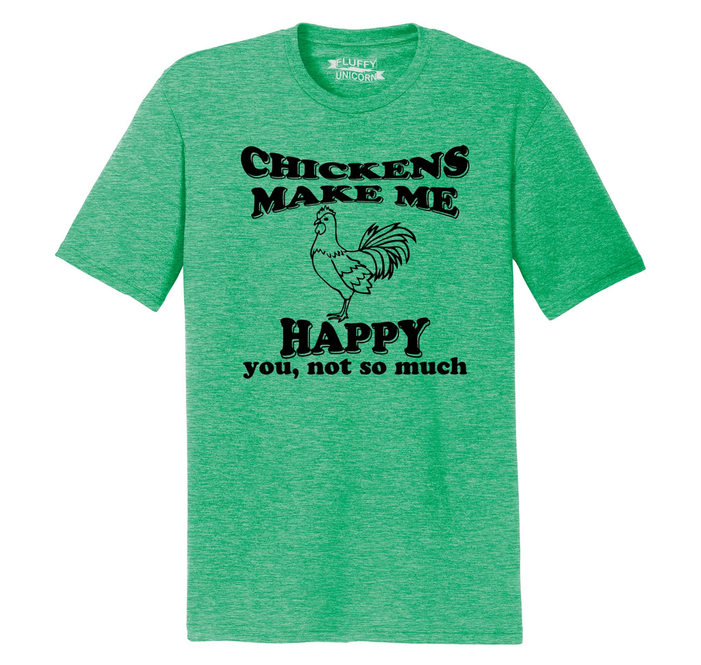 Chickens Make Me Happy You Not So Much Funny Tee Mens Short Sleeve Tri-Blend Shirt