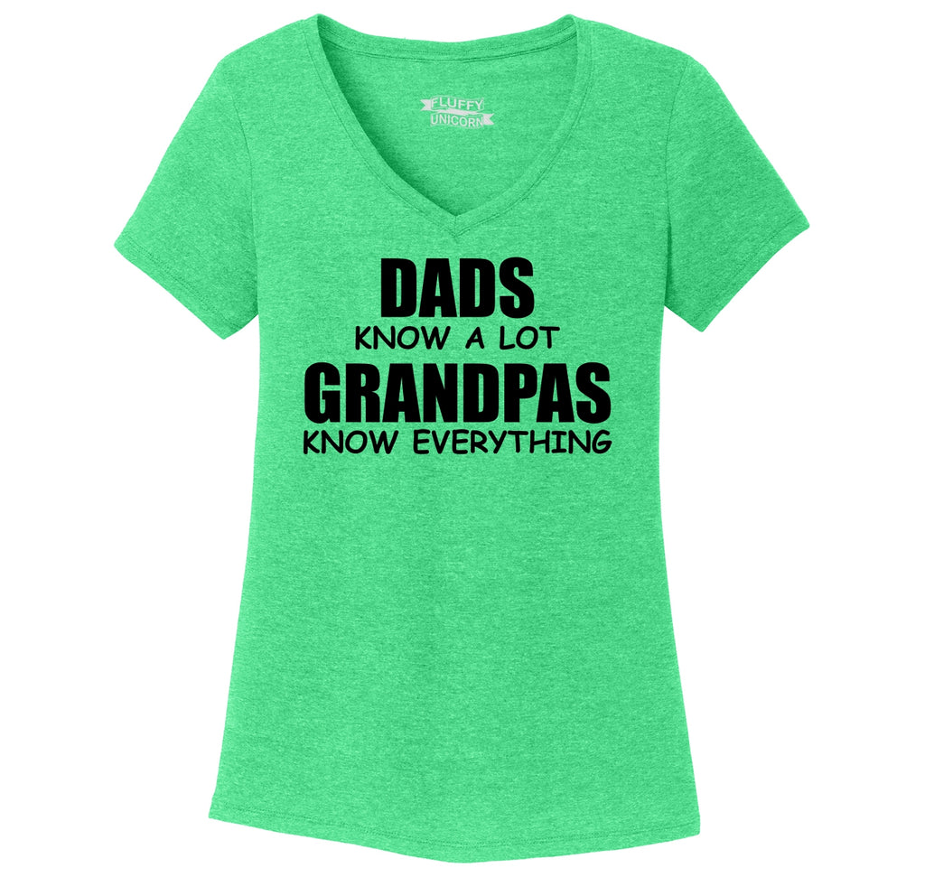 Dads Know A Lot Grandpas Know Everything Ladies Tri-Blend V-Neck Tee Shirt