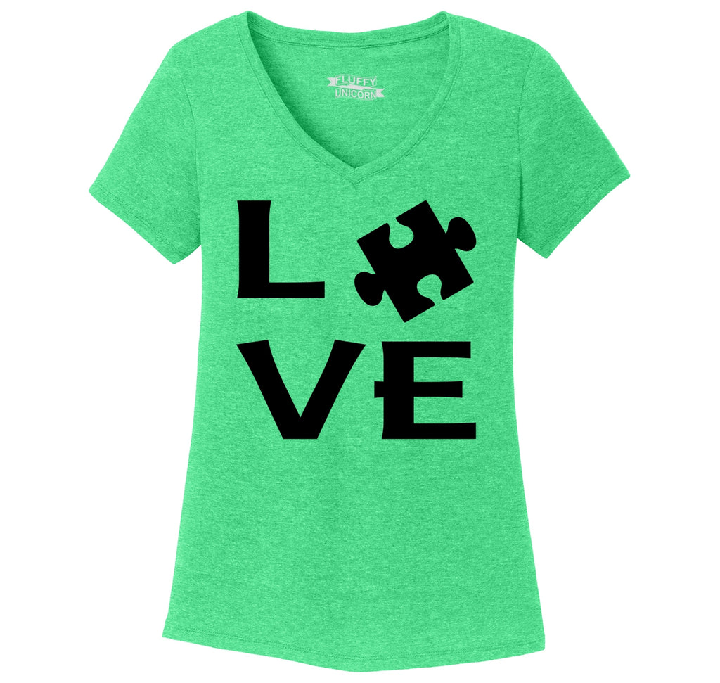 Love Autism Awareness Tee April Autism Event Puzzle Tee Ladies Tri-Blend V-Neck Tee Shirt