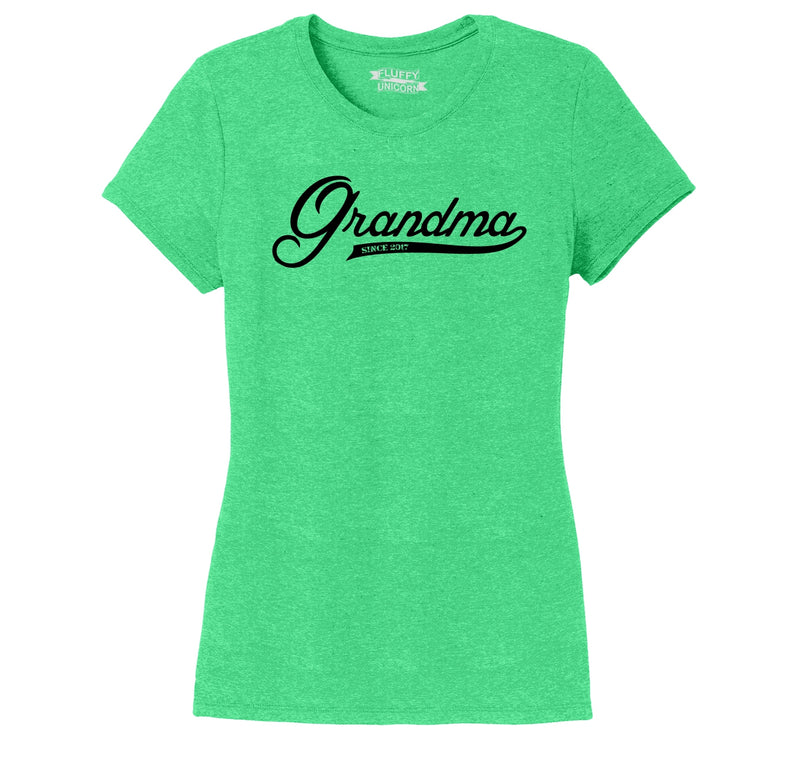 Grandma Since 2017 Shirt Cute New Baby Gift For Grandmother Ladies Short Sleeve Tri-Blend Shirt