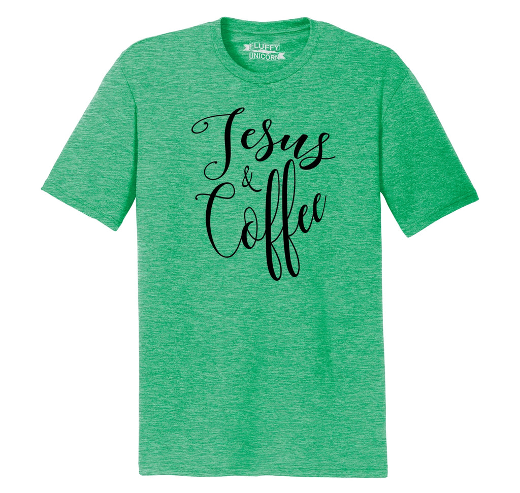 Coffee and Jesus Cute Religious Coffee Lover Tee Mens Short Sleeve Tri-Blend Shirt