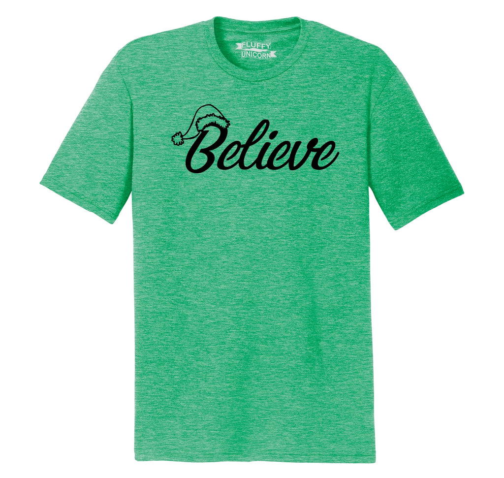 Believe in Santa Mens Short Sleeve Tri-Blend Shirt