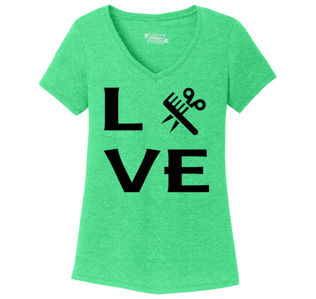 Love Hairstylist Cute Barber Gift Tee Ladies Tri-Blend V-Neck Tee Shirt