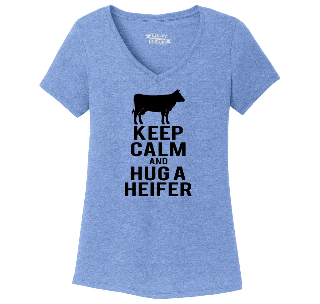 Keep Calm and Hug A Heifer Ladies Tri-Blend V-Neck Tee Shirt