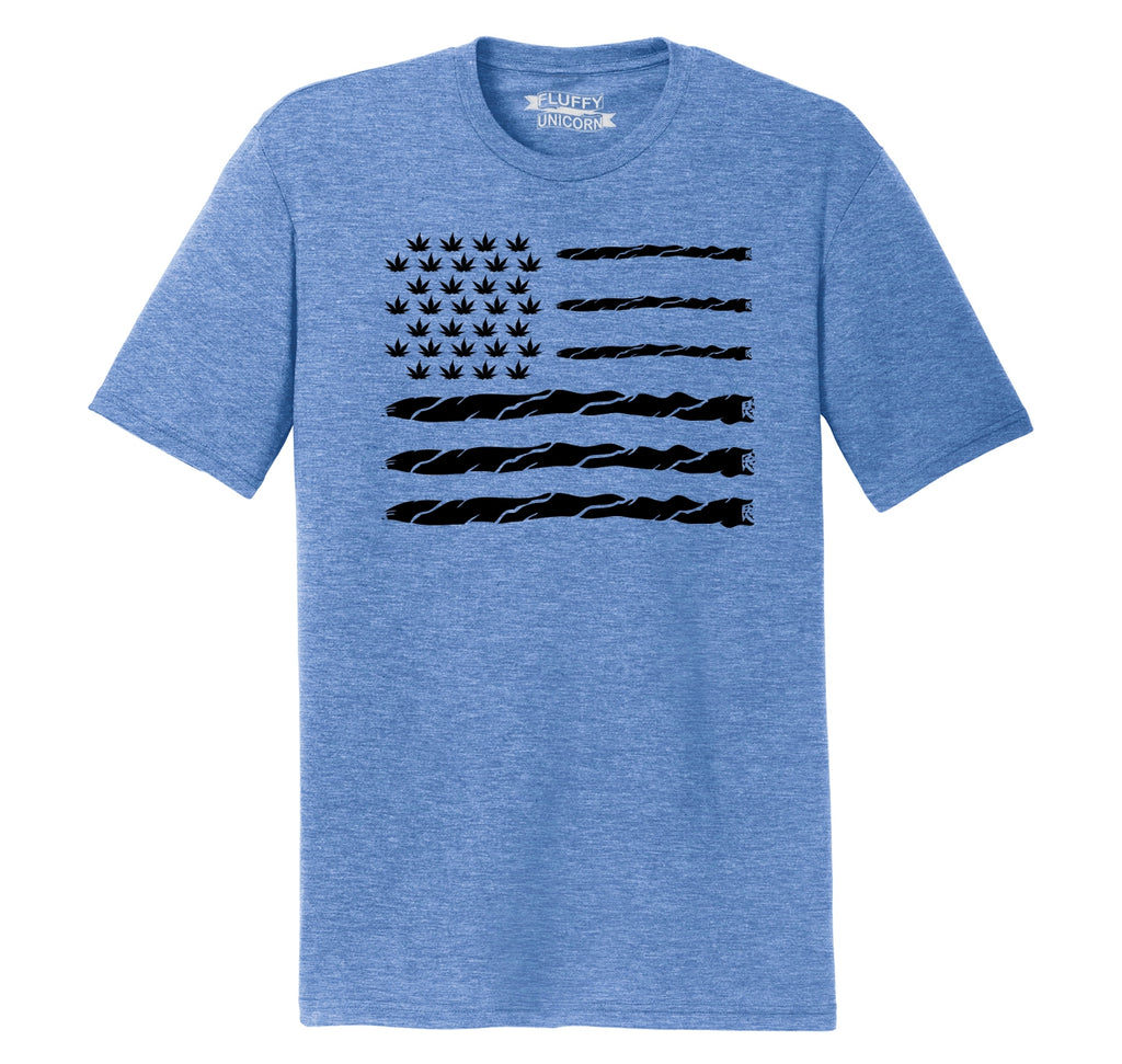 Weed Joint American Flag Mens Short Sleeve Tri-Blend Shirt