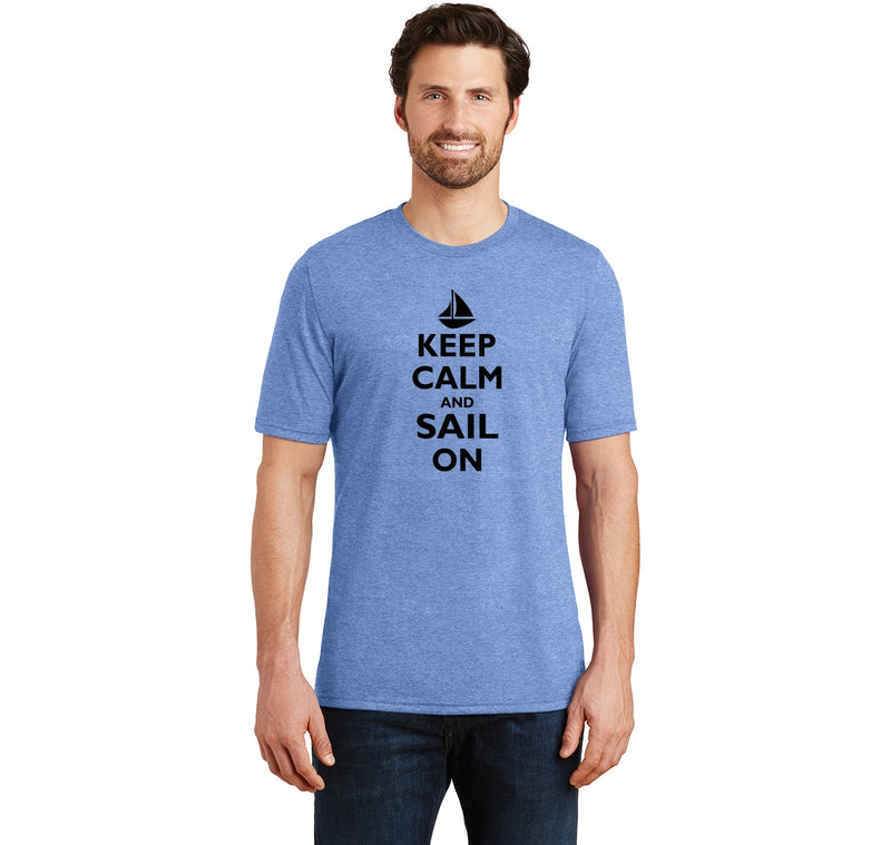 Keep Calm & Sail On Funny Sailor Shirt Mens Short Sleeve Tri-Blend Shirt