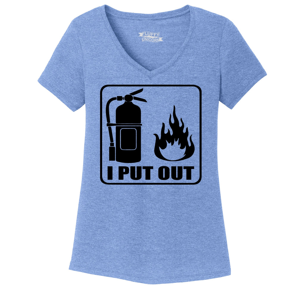 I Put Out Ladies Tri-Blend V-Neck Tee Shirt