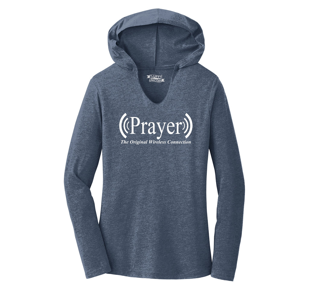 Prayer The Original Wireless Connection Ladies Tri-Blend Hooded Tee