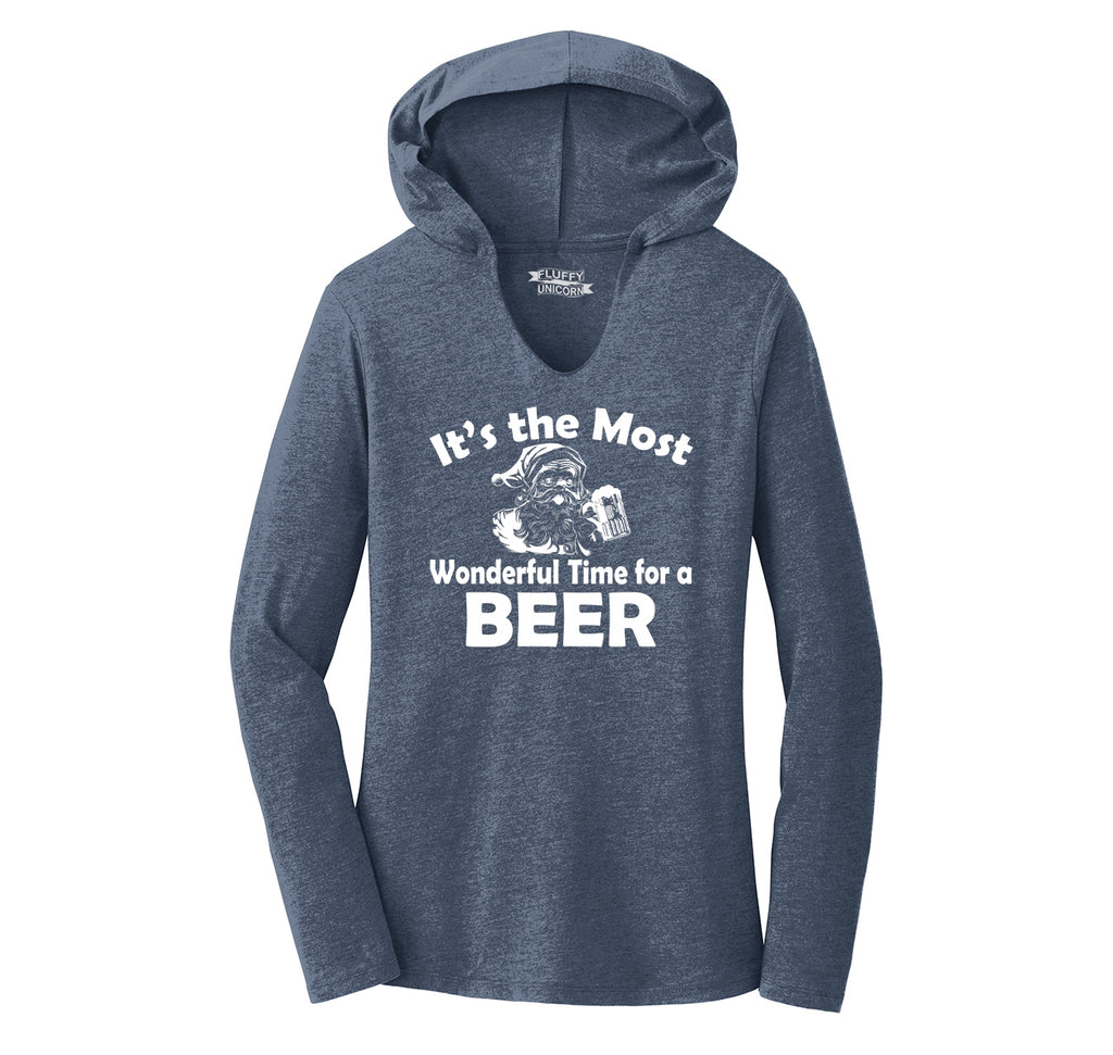 It's The Most Wonderful Time For A Beer Ladies Tri-Blend Hooded Tee
