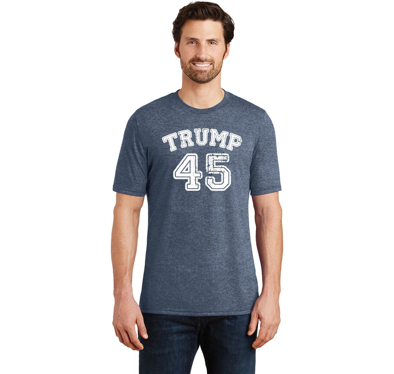 Trump 45 Tee Political President USA Trump Tee Mens Short Sleeve Tri-Blend Shirt