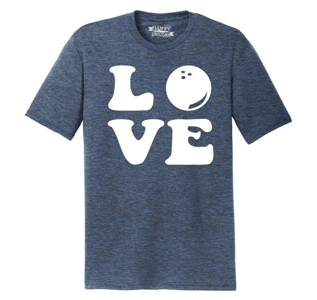 Love Bowling Big Print Mens Short Sleeve Tri-Blend Shirt
