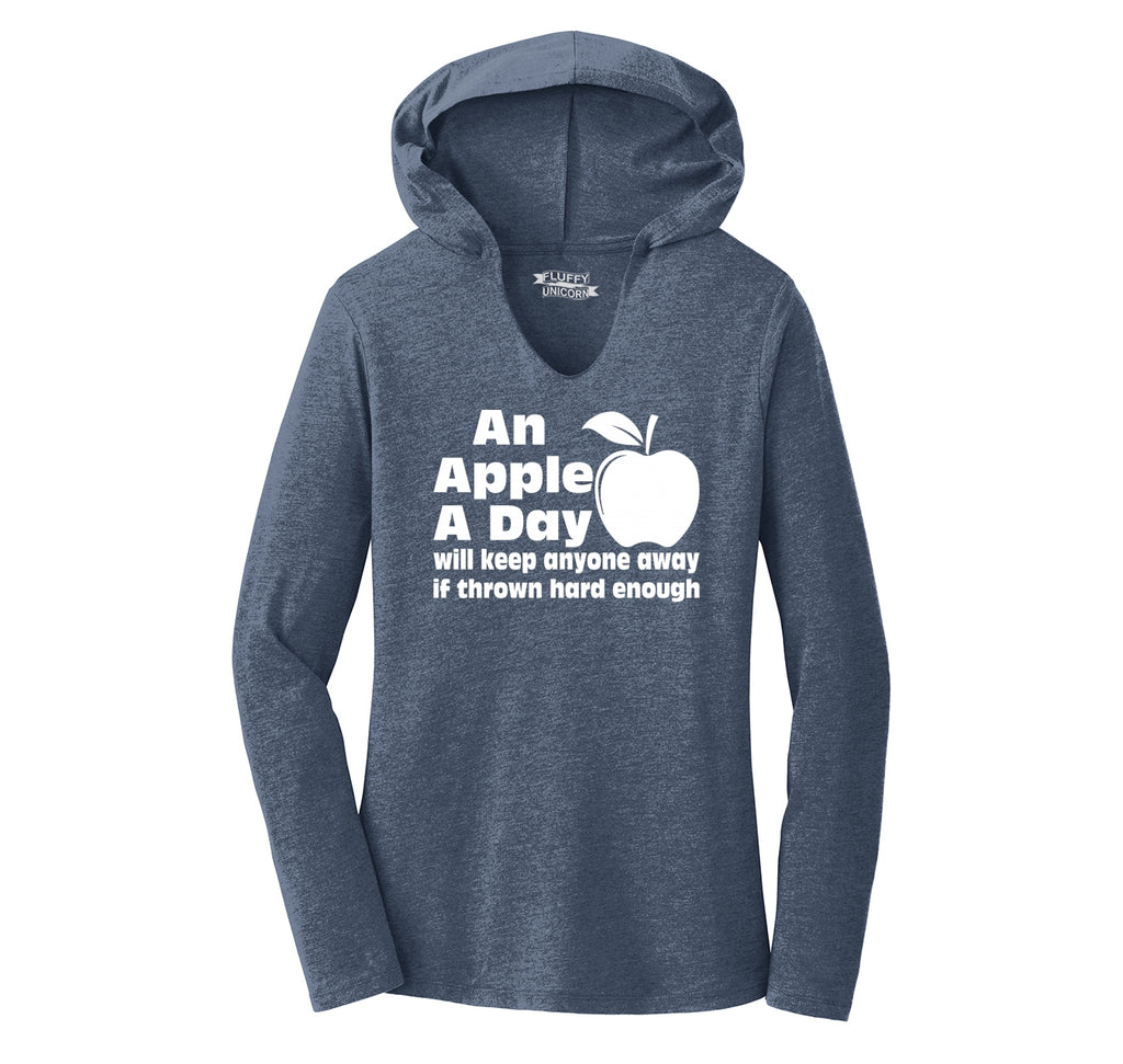 An Apple A Day Will Keep Anyone Away Thrown Hard Ladies Tri-Blend Hooded Tee