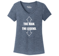 The Man The Legend Ladies Tri-Blend V-Neck Tee Shirt