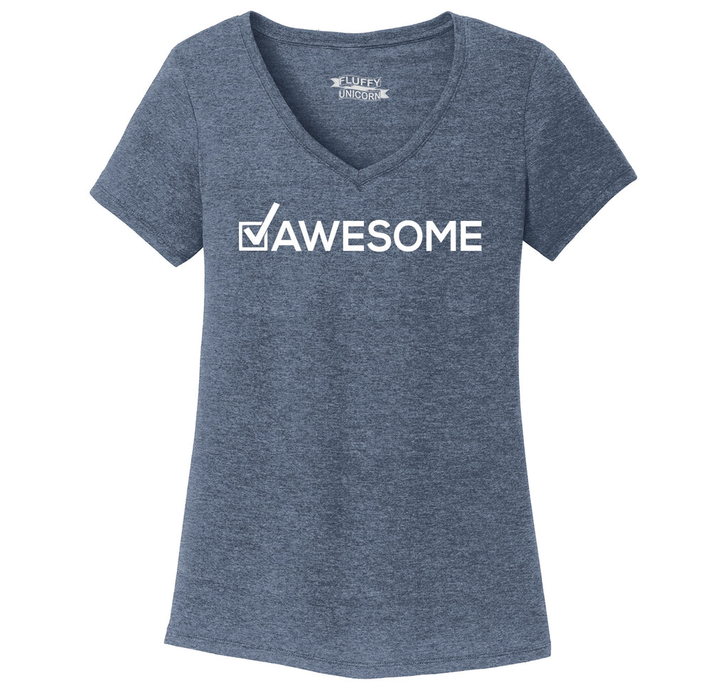 Awesome Checked Off Ladies Tri-Blend V-Neck Tee Shirt