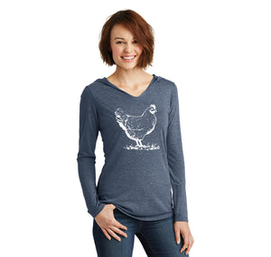 Chicken Graphic Ladies Tri-Blend Hooded Tee