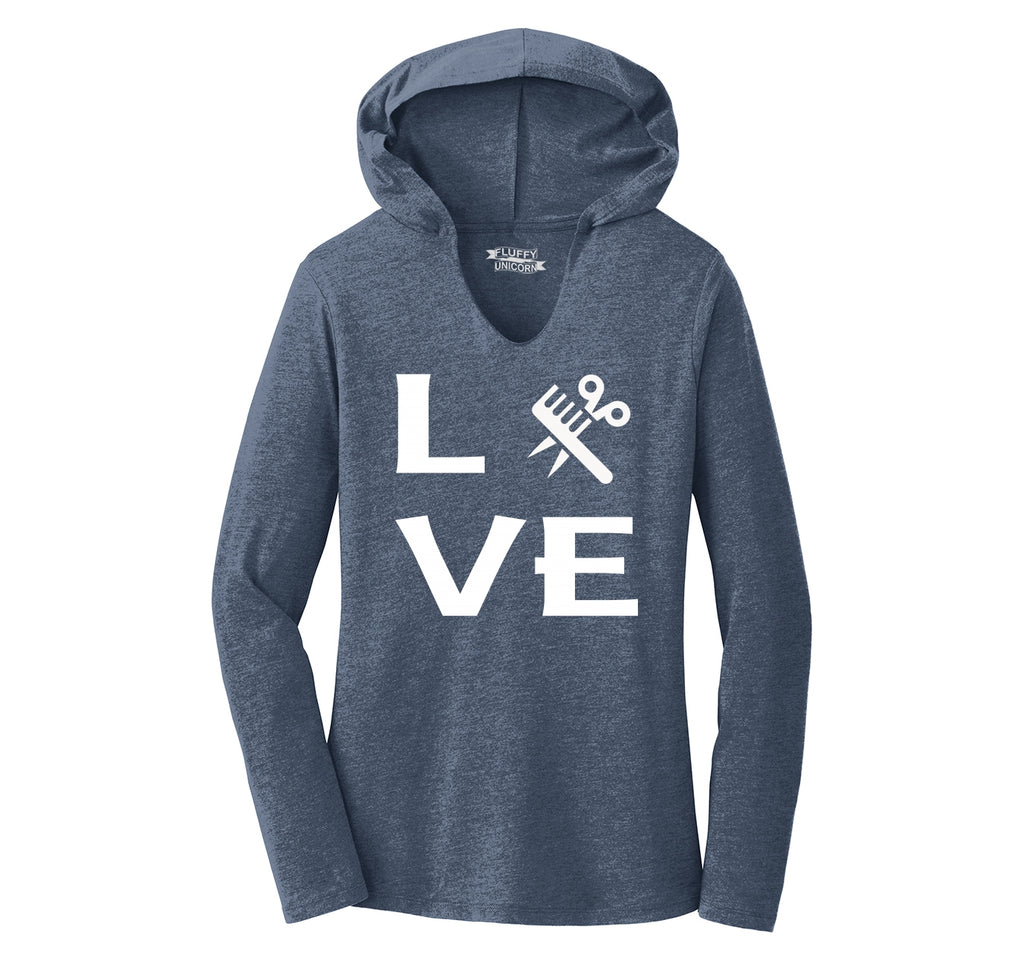 Love Hairstylist Cute Barber Gift Tee Ladies Tri-Blend Hooded Tee