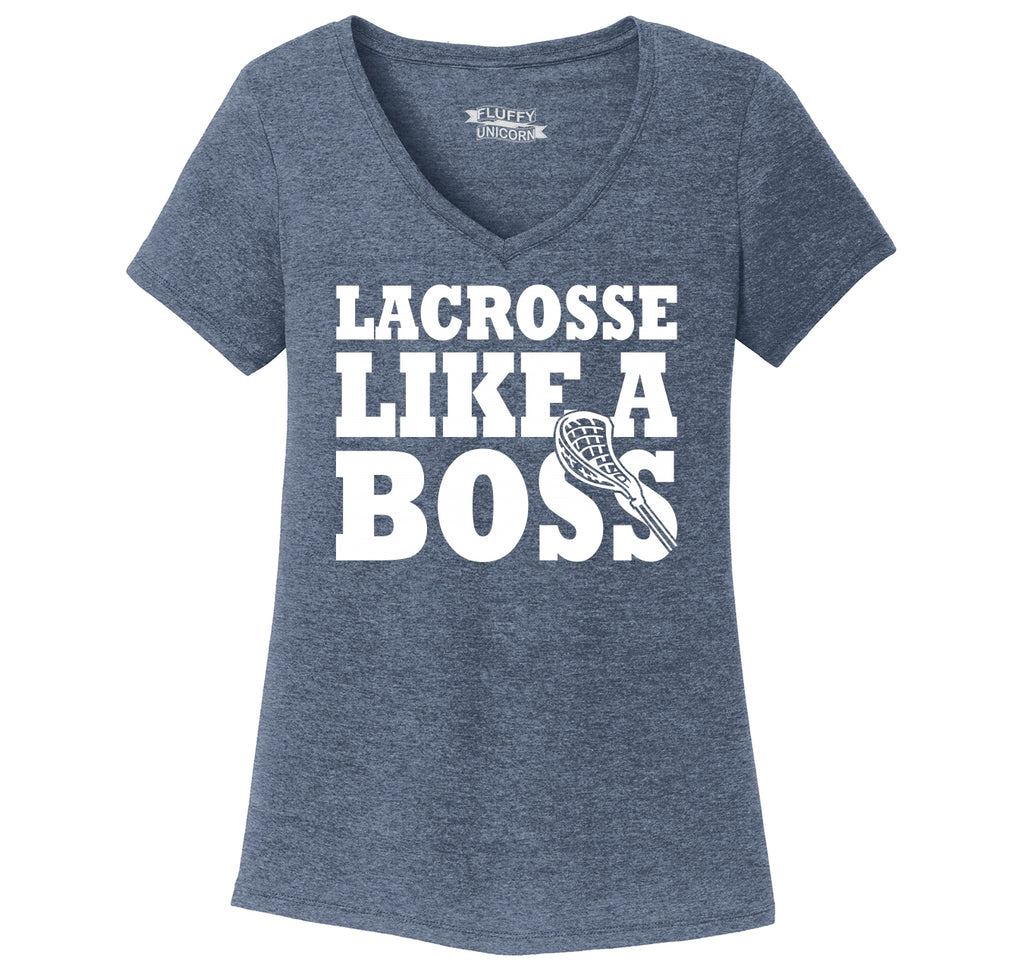 Lacrosse Like A Boss Ladies Tri-Blend V-Neck Tee Shirt