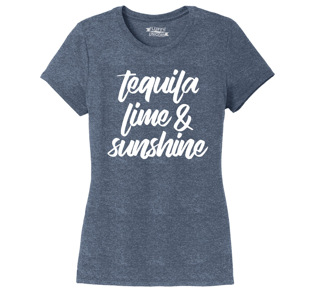 Tequila Lime and Sunshine Ladies Short Sleeve Tri-Blend Shirt