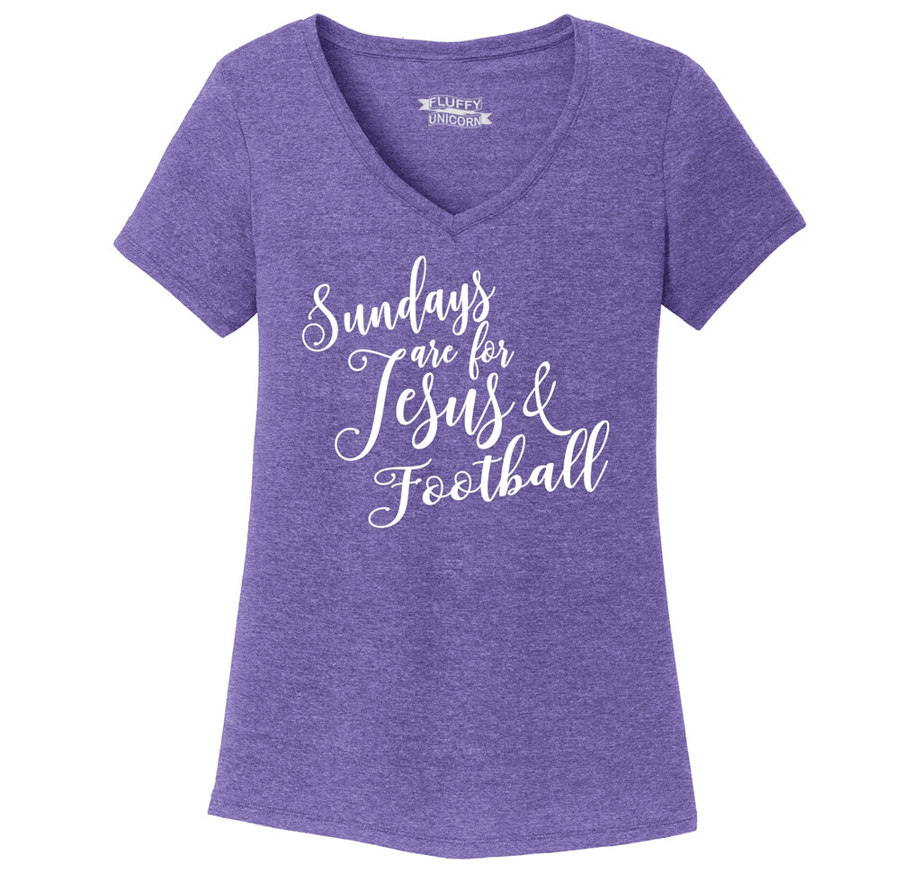 Sundays Are For Jesus & Football Ladies Tri-Blend V-Neck Tee Shirt