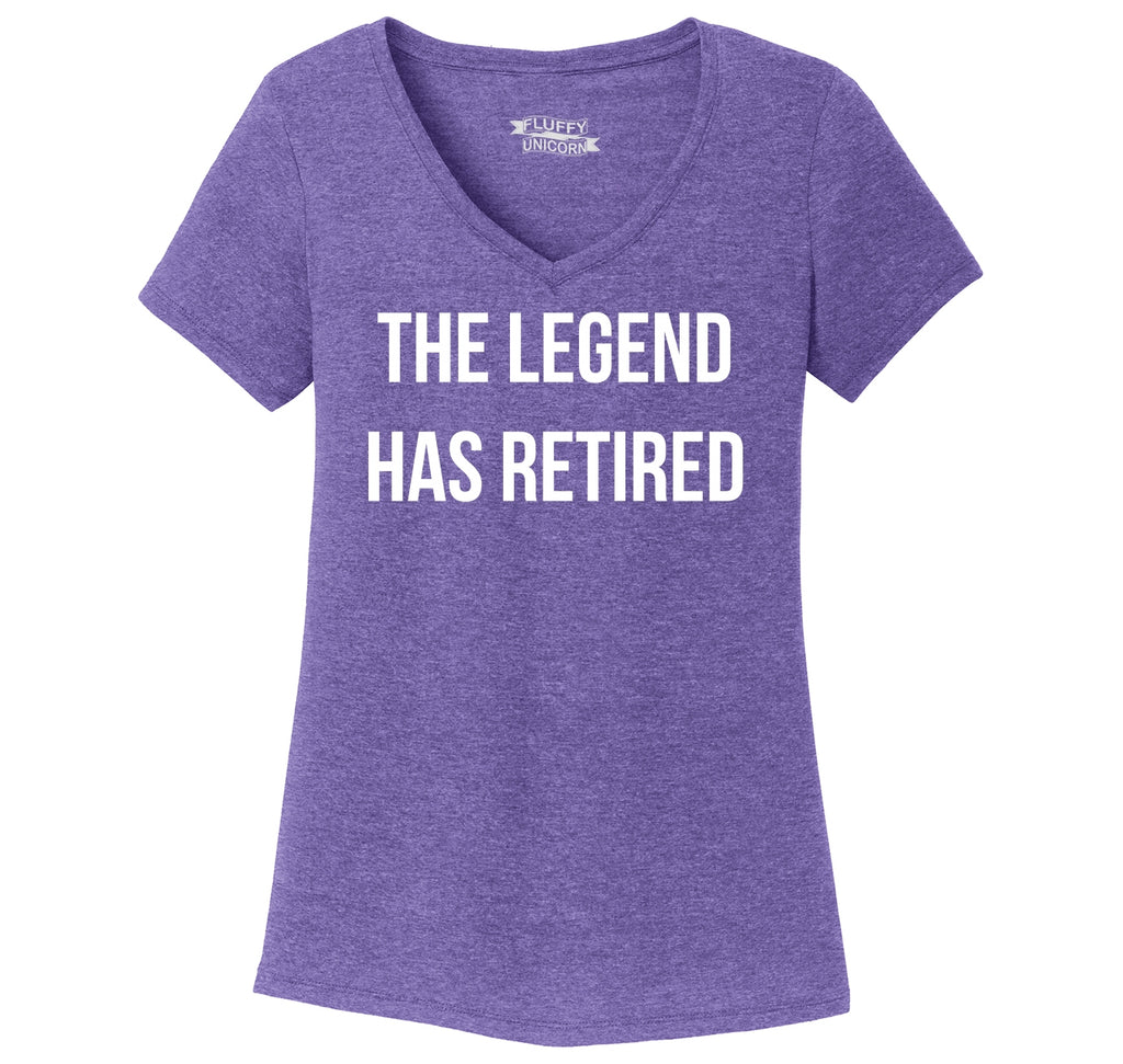 The Legend Has Retired Ladies Tri-Blend V-Neck Tee Shirt