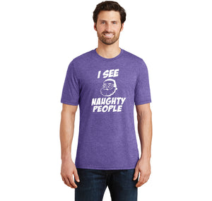 I See Naughty People Mens Short Sleeve Tri-Blend Shirt