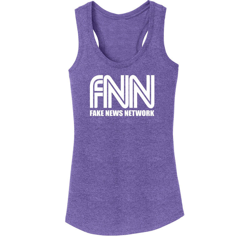 FNN Fake News Network Funny Political Trump Tee Ladies Tri-Blend Racerback Tank Top