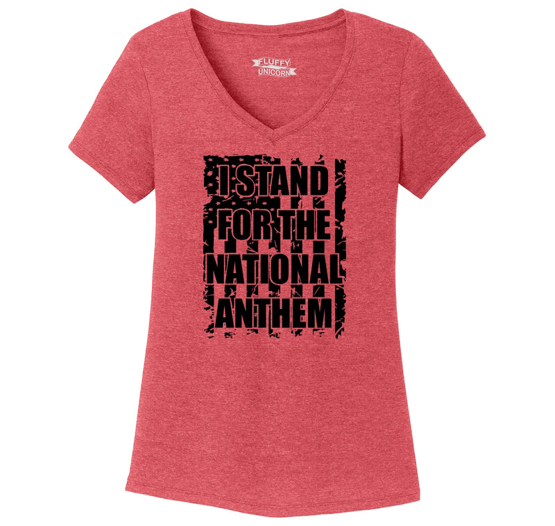 I Stand For The National Anthem American Pride Respect Shirt Ladies Tri-Blend V-Neck Tee Shirt