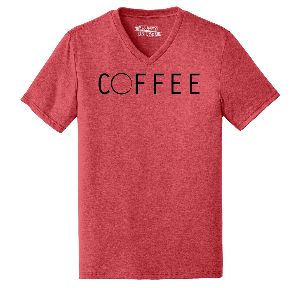Coffee Stain Graphic Tee Mens Tri-Blend V-Neck Tee Shirt