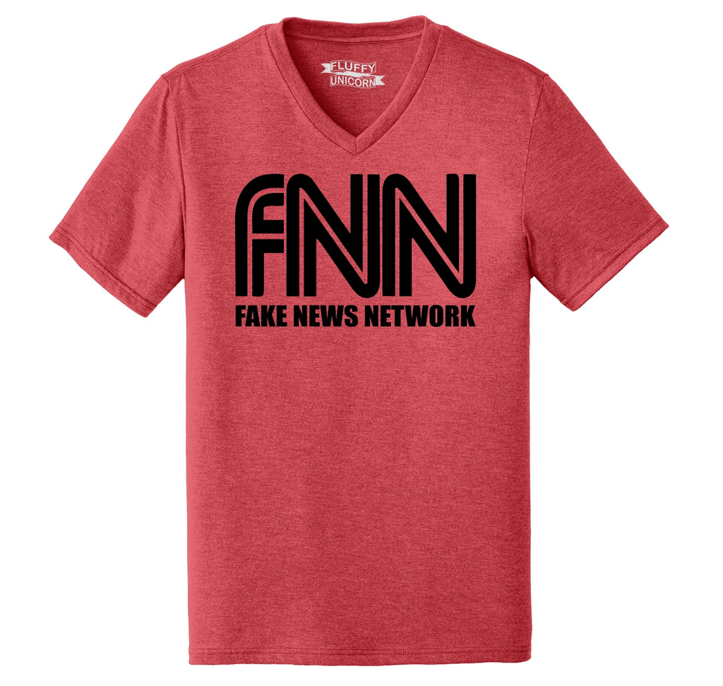 FNN Fake News Network Funny Political Trump Tee Mens Tri-Blend V-Neck Tee Shirt