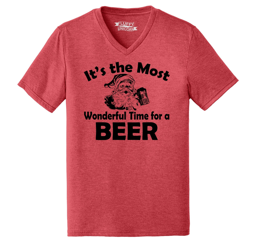 It's The Most Wonderful Time For A Beer Mens Tri-Blend V-Neck Tee Shirt