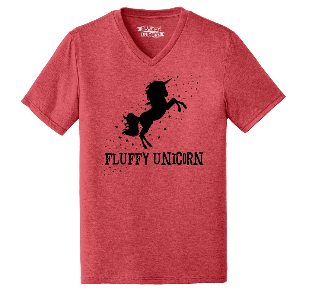 Fluffy Unicorn Graphic Tee Mens Tri-Blend V-Neck Tee Shirt