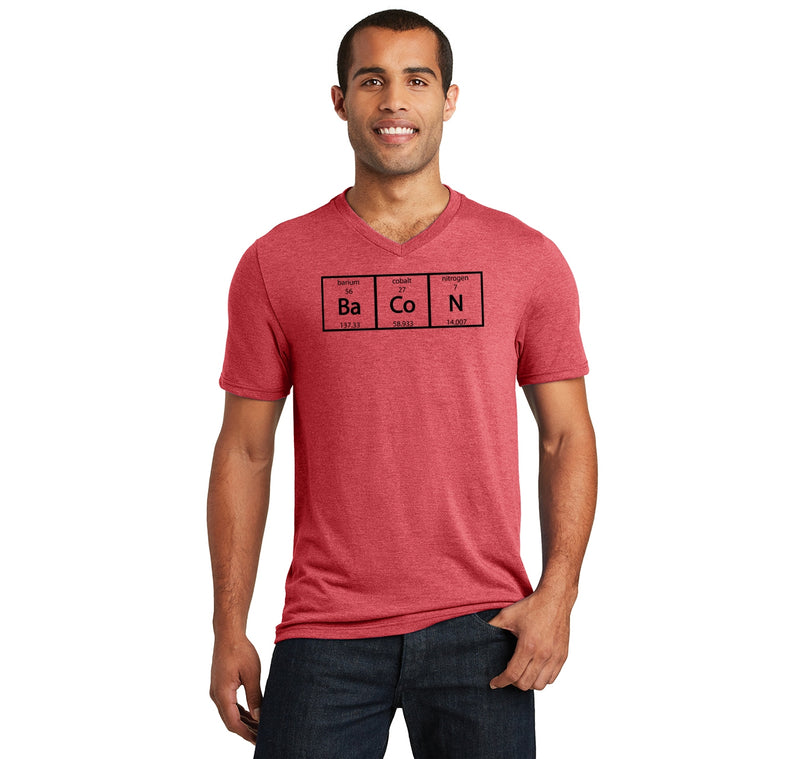 Bacon Periodic Table Mens Tri-Blend V-Neck Tee Shirt