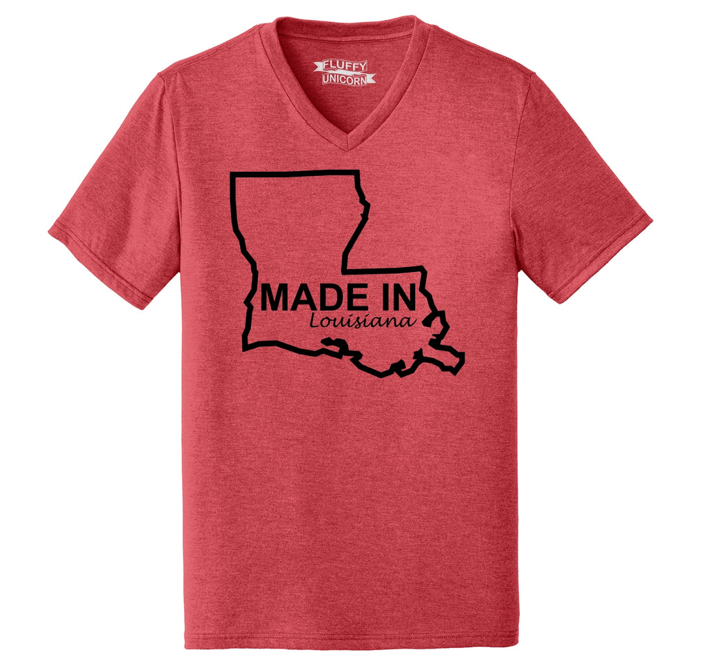 Made In Louisiana Mens Tri-Blend V-Neck Tee Shirt